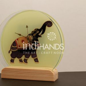 Table-Top-Products,-CL–Kalamkari-Elephant-Clock-with-wooden-stand-Handicraft,-1026-copy